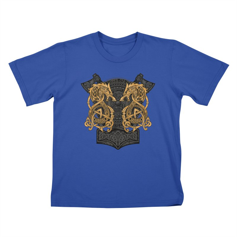 Fighting Fenrir Gold Kids T-Shirt by Celtic Hammer Club
