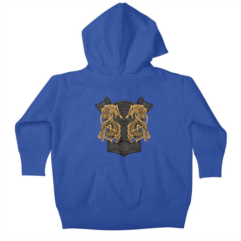 Fighting Fenrir Gold Kids Baby Zip-Up Hoody by Celtic Hammer Club