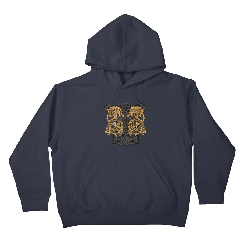 Fighting Fenrir Gold Kids Pullover Hoody by Celtic Hammer Club