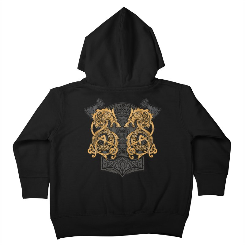 Fighting Fenrir Gold Kids Toddler Zip-Up Hoody by Celtic Hammer Club