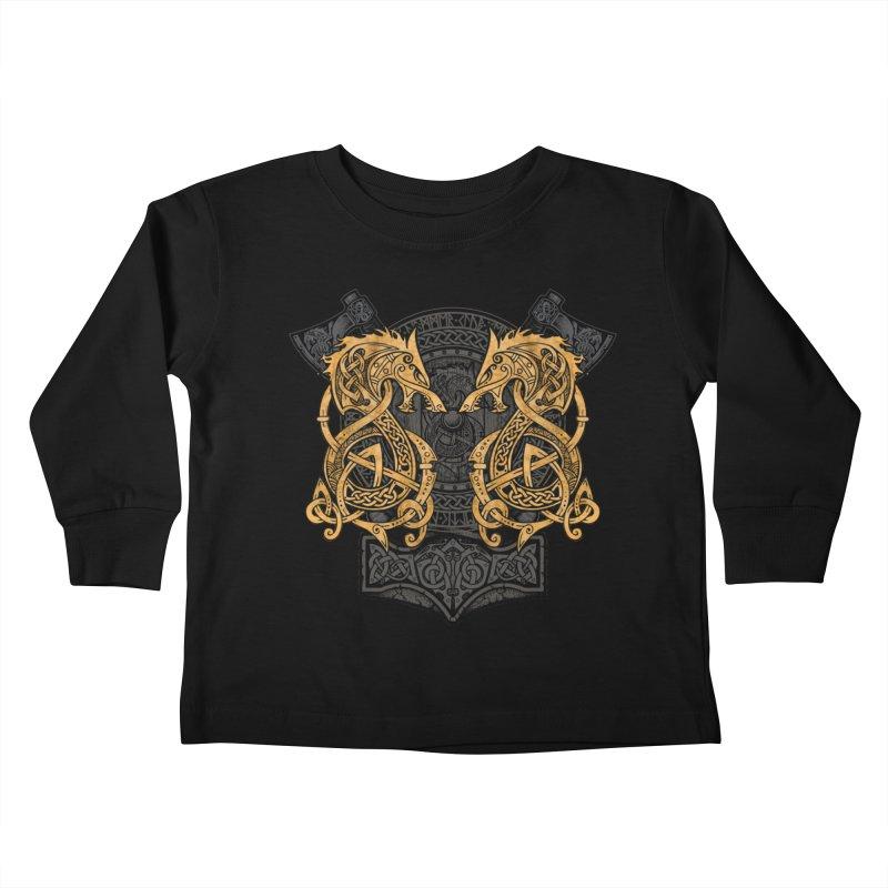 Fighting Fenrir Gold Kids Toddler Longsleeve T-Shirt by Celtic Hammer Club