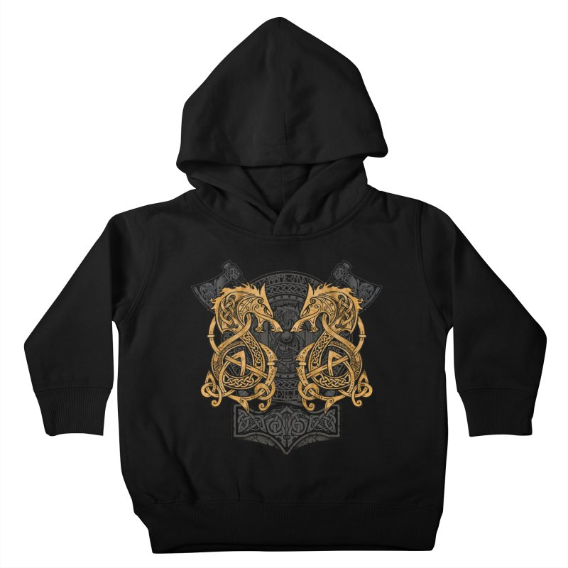Fighting Fenrir Gold Kids Toddler Pullover Hoody by Celtic Hammer Club
