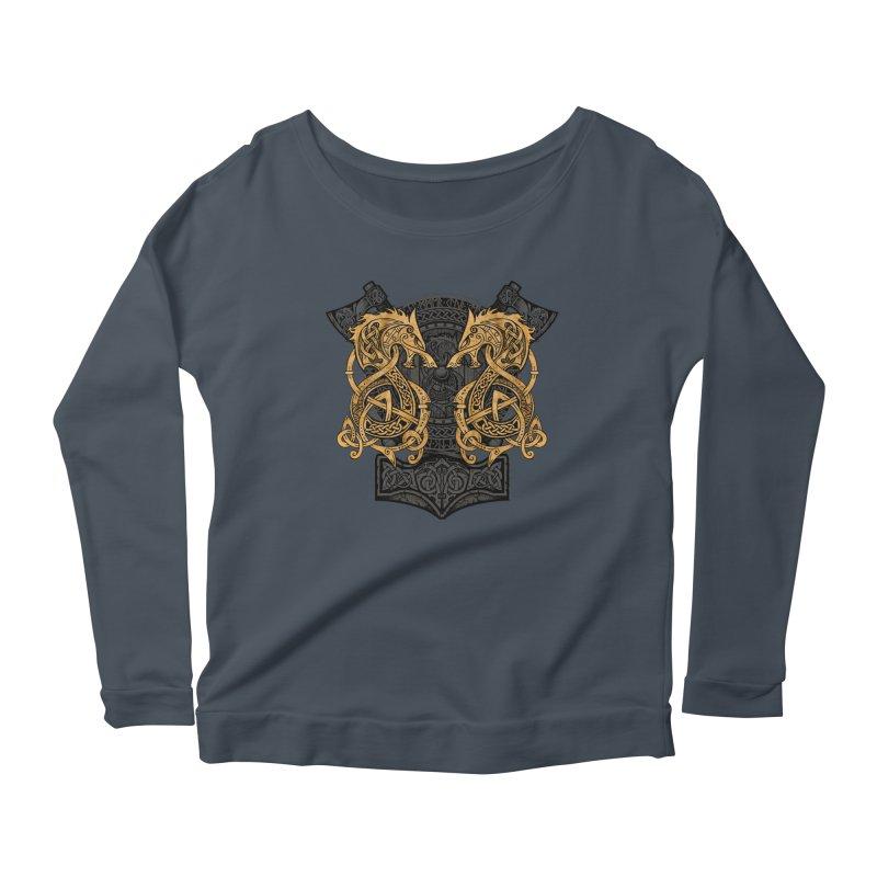 Fighting Fenrir Gold Women's Scoop Neck Longsleeve T-Shirt by Celtic Hammer Club
