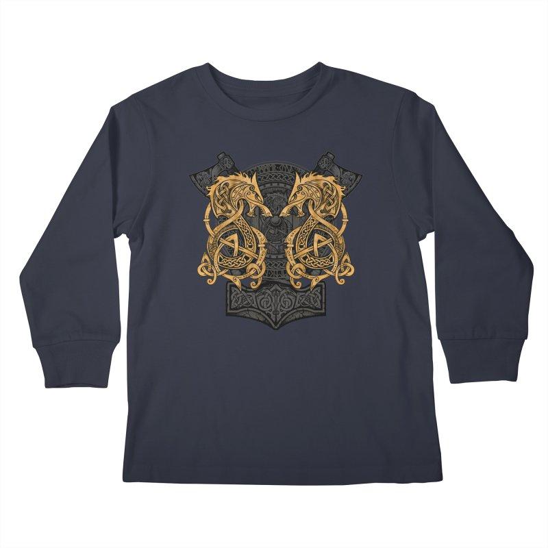 Fighting Fenrir Gold Kids Longsleeve T-Shirt by Celtic Hammer Club