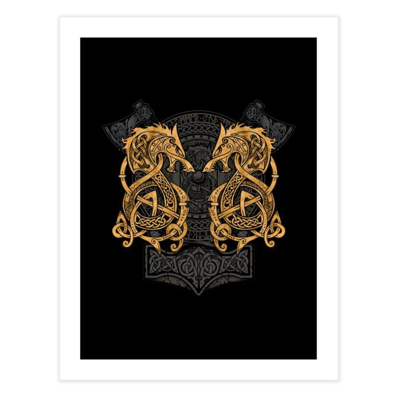 Fighting Fenrir Gold Home Fine Art Print by Celtic Hammer Club