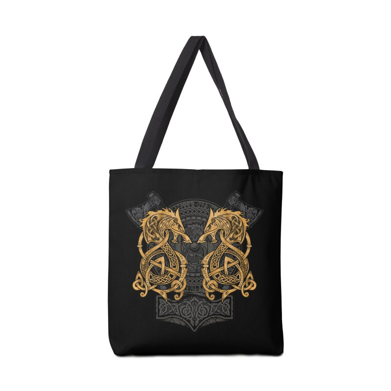Fighting Fenrir Gold Accessories Tote Bag Bag by Celtic Hammer Club