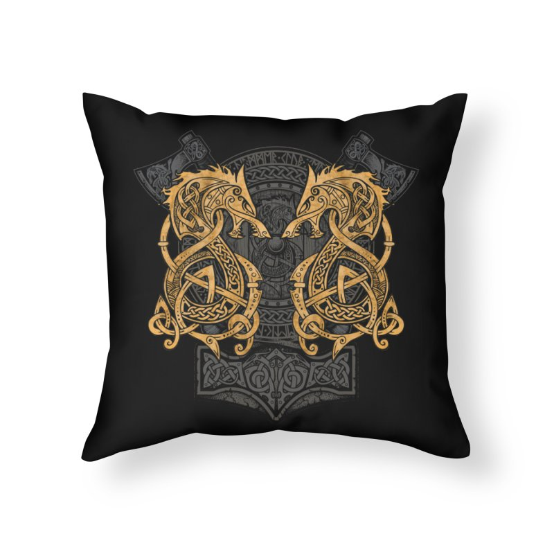 Fighting Fenrir Gold Home Throw Pillow by Celtic Hammer Club