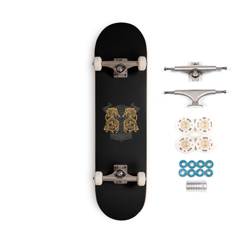 Fighting Fenrir Gold Accessories Complete - Premium Skateboard by Celtic Hammer Club