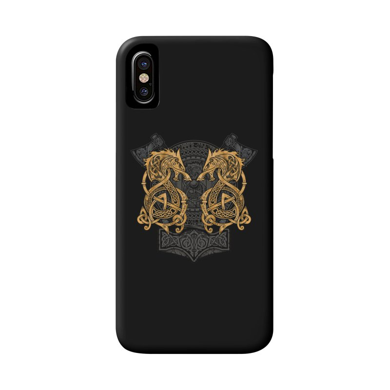 Fighting Fenrir Gold Accessories Phone Case by Celtic Hammer Club