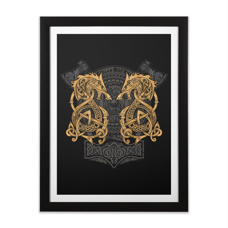 Fighting Fenrir Gold Home Framed Fine Art Print by Celtic Hammer Club