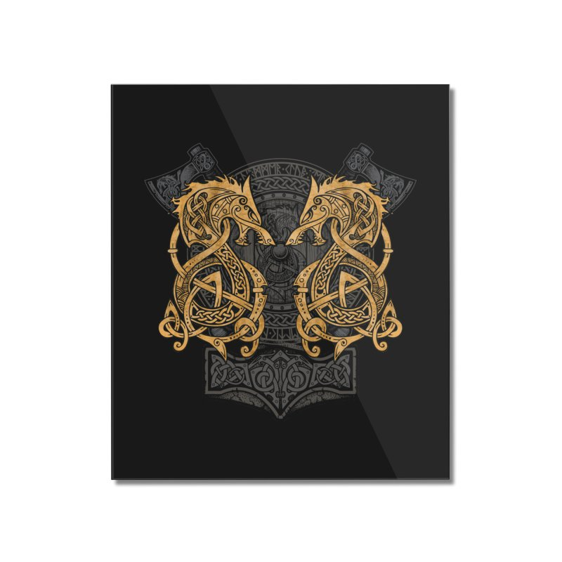 Fighting Fenrir Gold Home Mounted Acrylic Print by Celtic Hammer Club