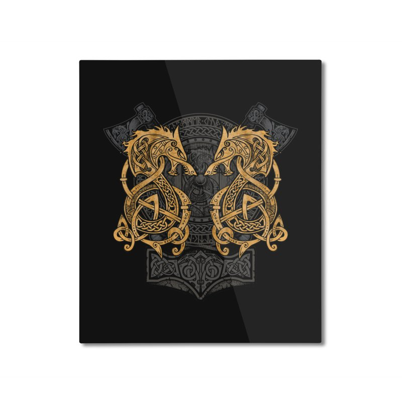 Fighting Fenrir Gold Home Mounted Aluminum Print by Celtic Hammer Club