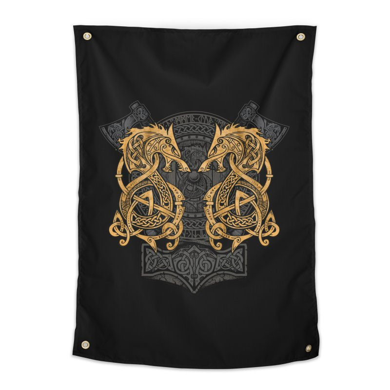Fighting Fenrir Gold Home Tapestry by Celtic Hammer Club