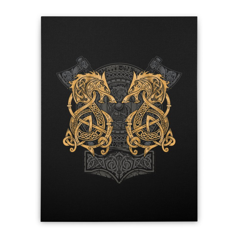 Fighting Fenrir Gold Home Stretched Canvas by Celtic Hammer Club