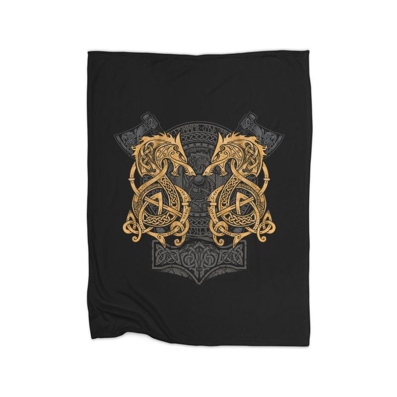 Fighting Fenrir Gold Home Fleece Blanket Blanket by Celtic Hammer Club