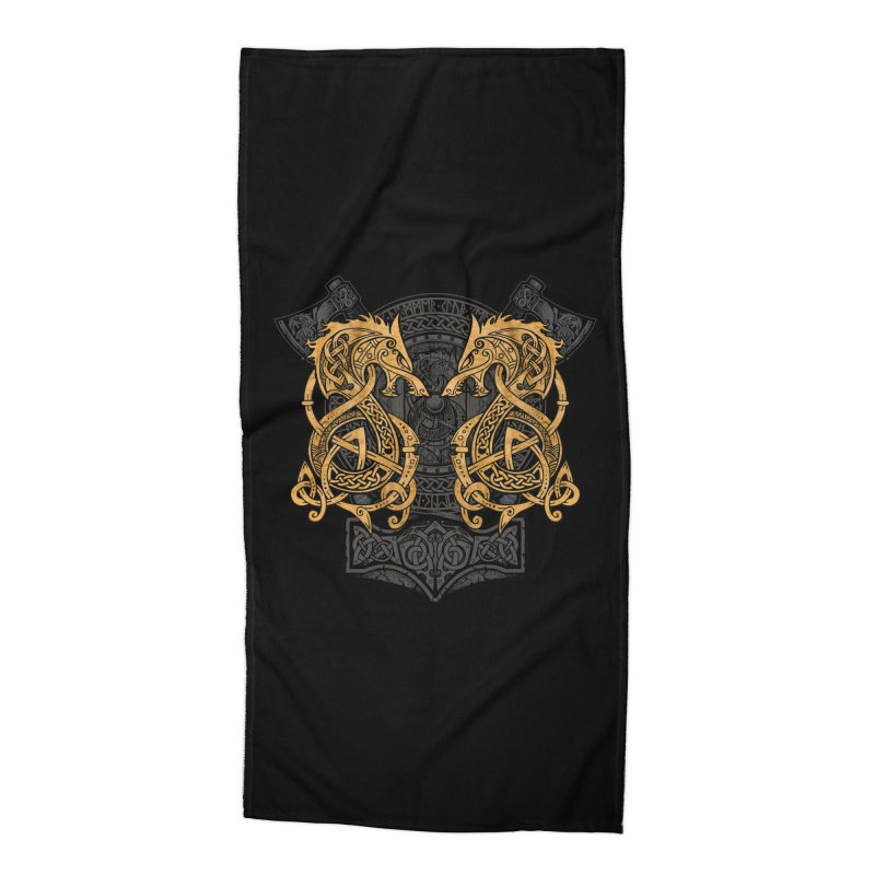 Fighting Fenrir Gold Accessories Beach Towel by Celtic Hammer Club