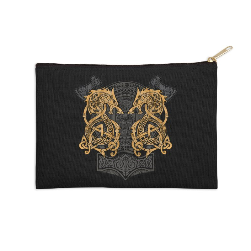 Fighting Fenrir Gold Accessories Zip Pouch by Celtic Hammer Club