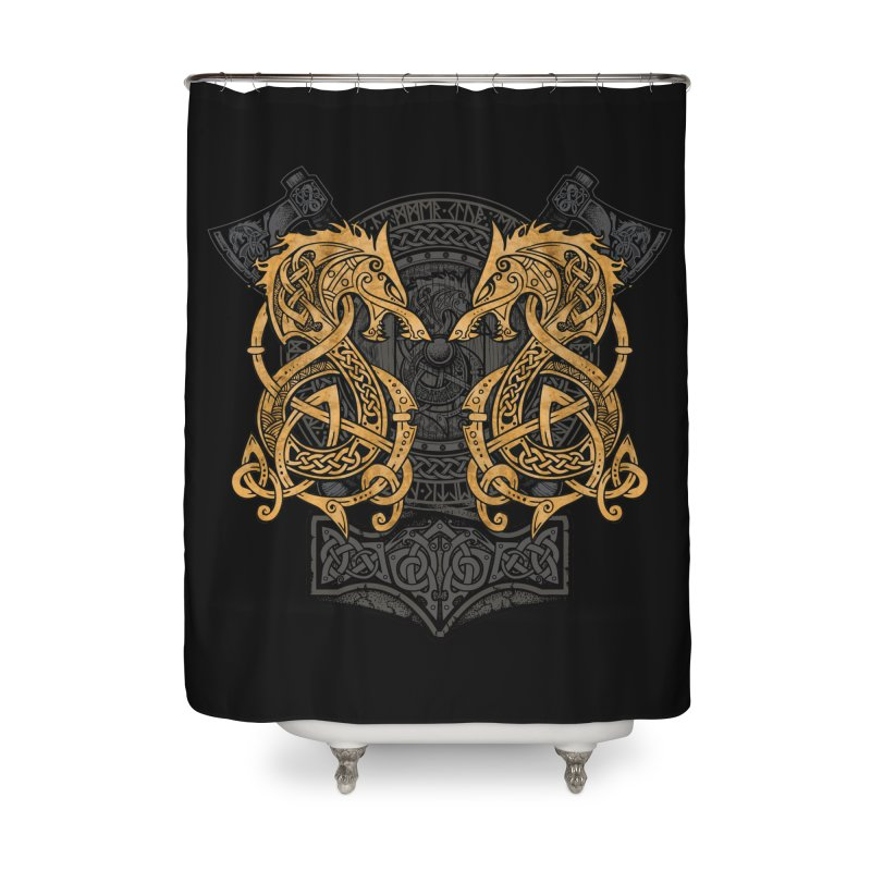 Fighting Fenrir Gold Home Shower Curtain by Celtic Hammer Club