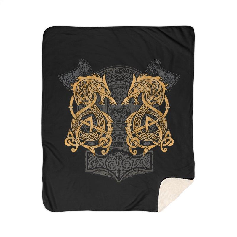 Fighting Fenrir Gold Home Sherpa Blanket Blanket by Celtic Hammer Club
