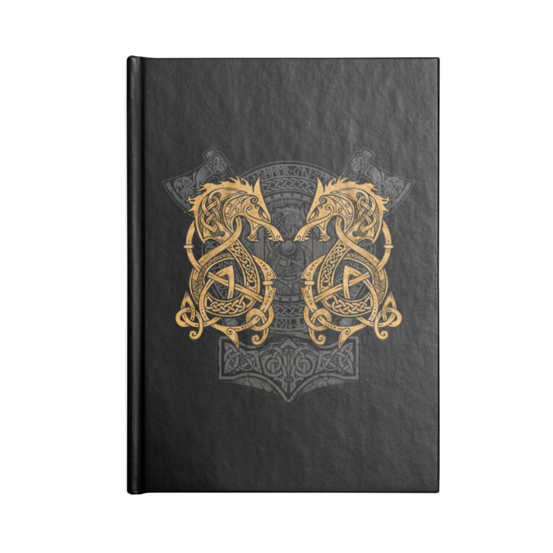 Fighting Fenrir Gold Accessories Blank Journal Notebook by Celtic Hammer Club