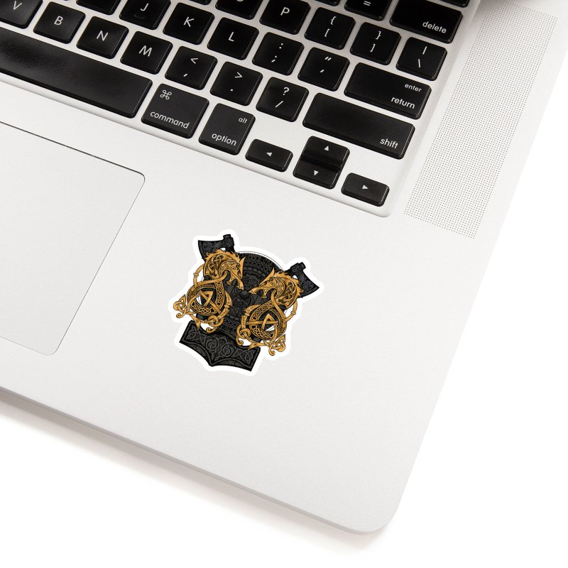 Fighting Fenrir Gold Accessories Sticker by Celtic Hammer Club