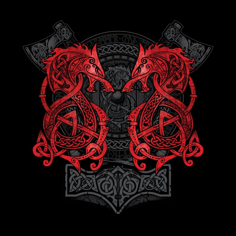 Fighting Fenrir Red Men's T-Shirt by Celtic Hammer Club