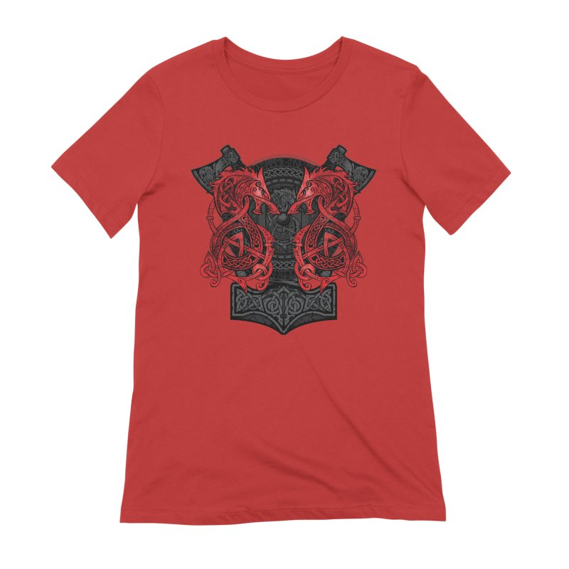 Fighting Fenrir Red Women's Extra Soft T-Shirt by Celtic Hammer Club