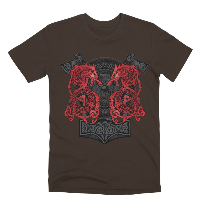 Fighting Fenrir Red Men's Premium T-Shirt by Celtic Hammer Club
