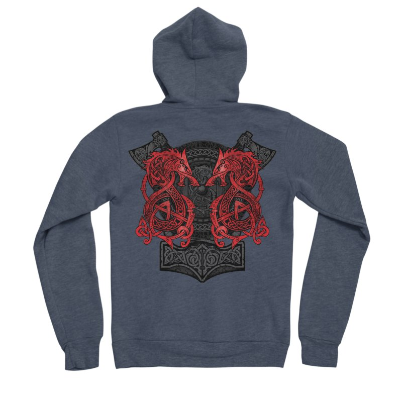 Fighting Fenrir Red Men's Sponge Fleece Zip-Up Hoody by Celtic Hammer Club