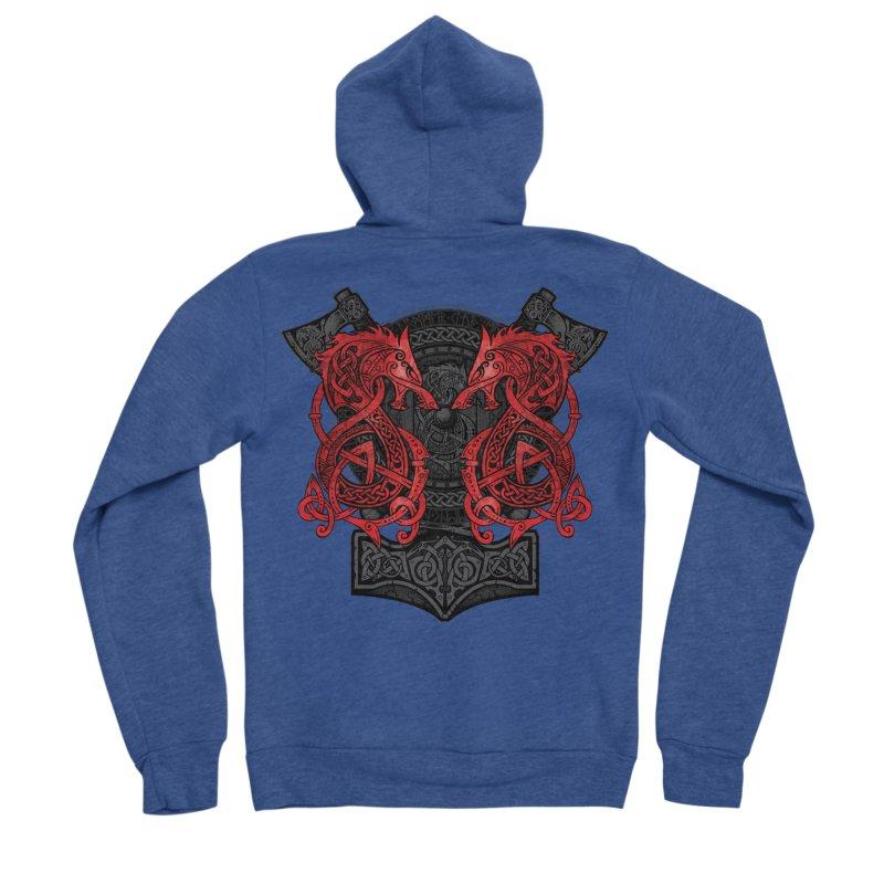 Fighting Fenrir Red Women's Sponge Fleece Zip-Up Hoody by Celtic Hammer Club