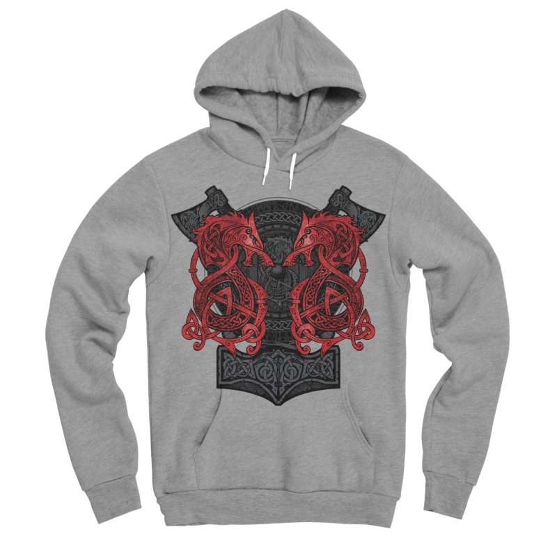 Fighting Fenrir Red Women's Sponge Fleece Pullover Hoody by Celtic Hammer Club