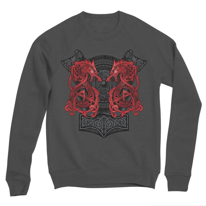 Fighting Fenrir Red Women's Sponge Fleece Sweatshirt by Celtic Hammer Club
