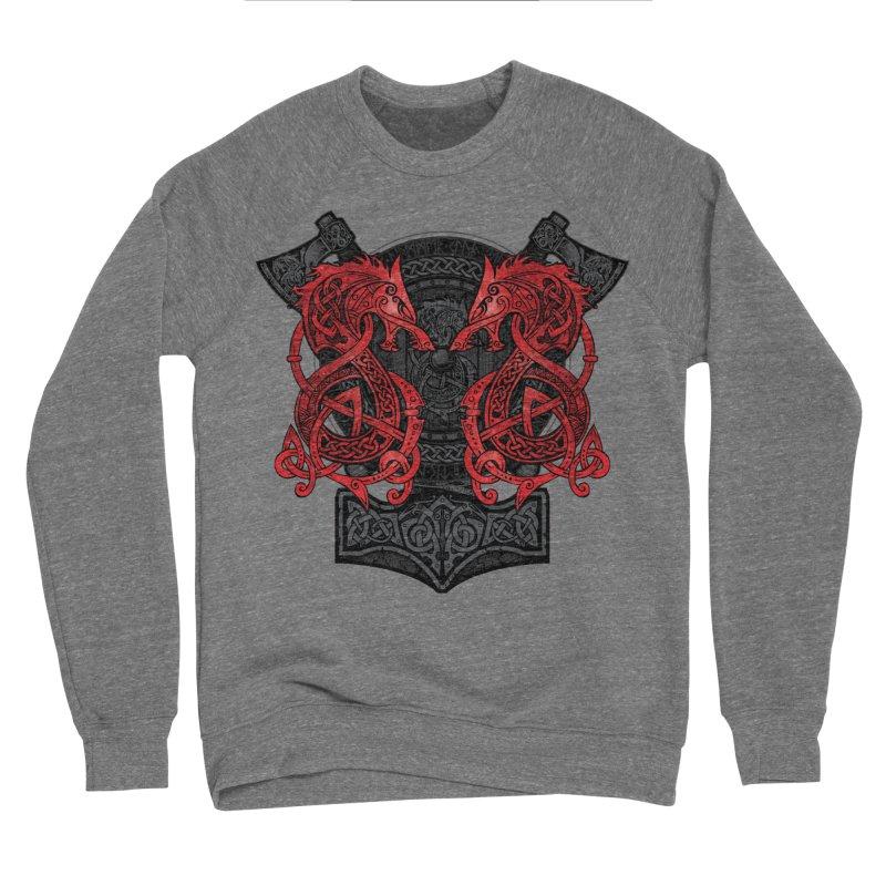 Fighting Fenrir Red Men's Sponge Fleece Sweatshirt by Celtic Hammer Club