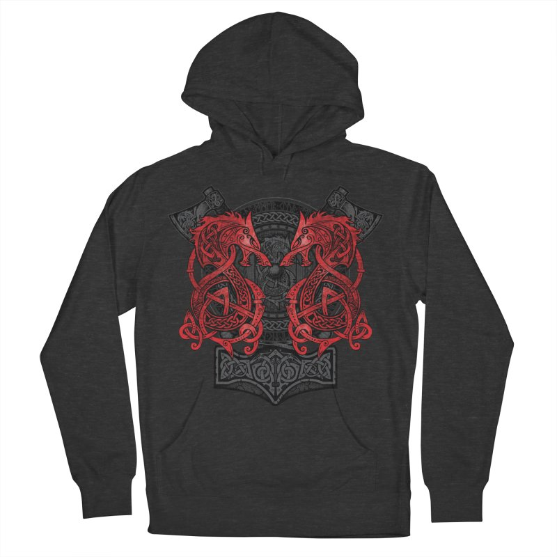 Fighting Fenrir Red Women's French Terry Pullover Hoody by Celtic Hammer Club