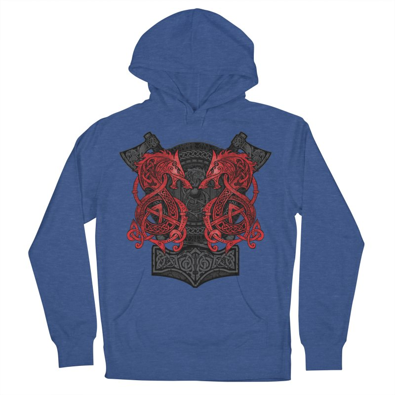Fighting Fenrir Red Men's French Terry Pullover Hoody by Celtic Hammer Club