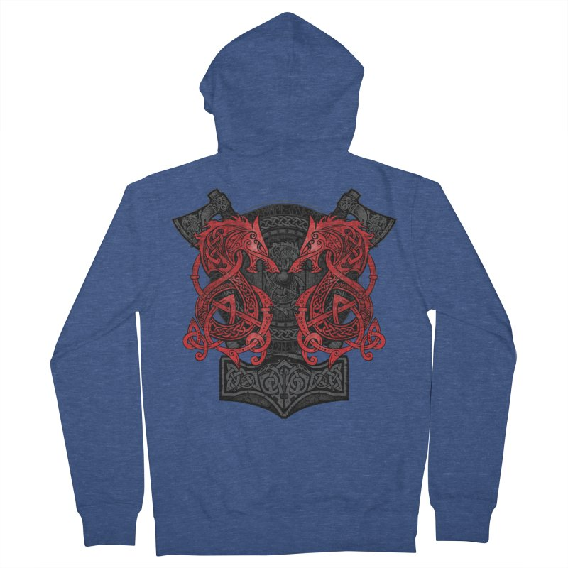 Fighting Fenrir Red Women's French Terry Zip-Up Hoody by Celtic Hammer Club