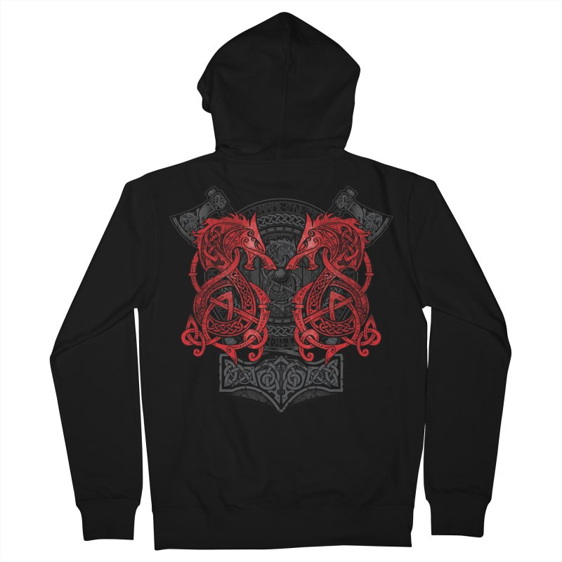 Fighting Fenrir Red Men's French Terry Zip-Up Hoody by Celtic Hammer Club