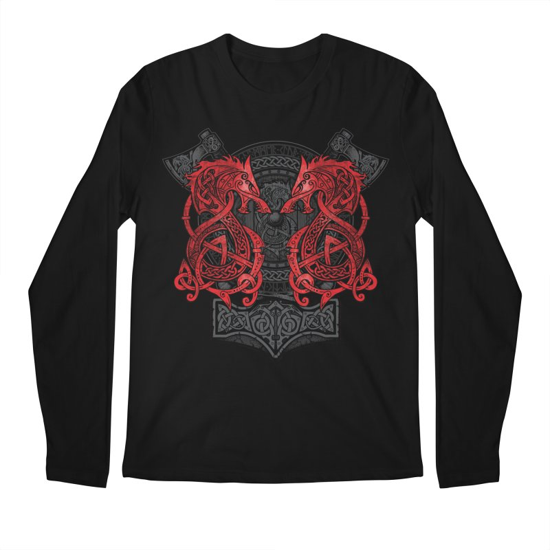 Fighting Fenrir Red Men's Regular Longsleeve T-Shirt by Celtic Hammer Club