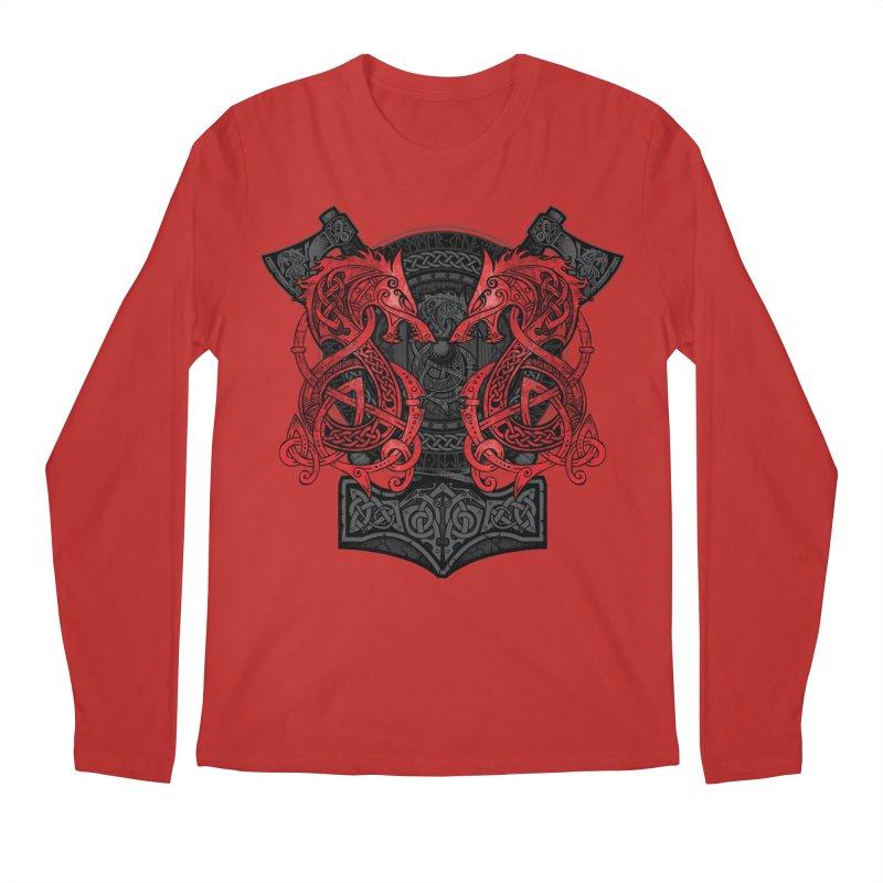 Fighting Fenrir Red Men's Regular Longsleeve T-Shirt by Celtic Hammer Club