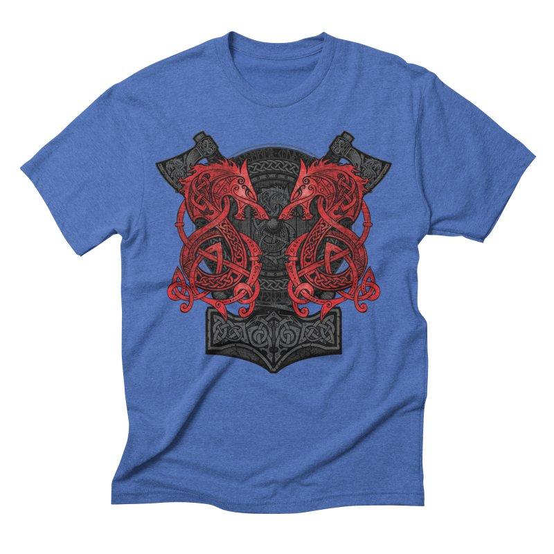 Fighting Fenrir Red Men's Triblend T-Shirt by Celtic Hammer Club