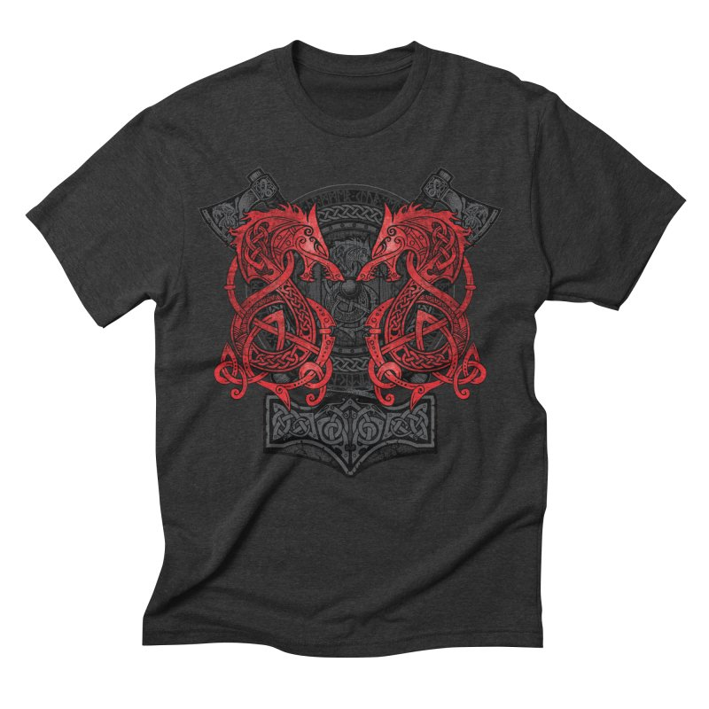 Fighting Fenrir Red Men's Triblend T-Shirt by Celtic Hammer Club