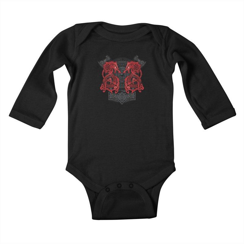 Fighting Fenrir Red Kids Baby Longsleeve Bodysuit by Celtic Hammer Club