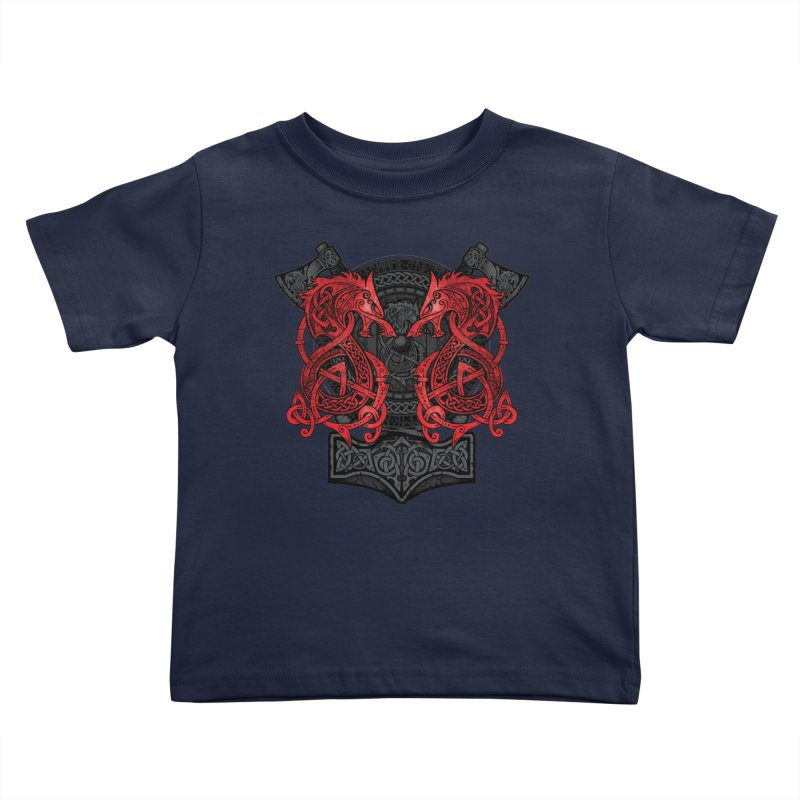 Fighting Fenrir Red Kids Toddler T-Shirt by Celtic Hammer Club