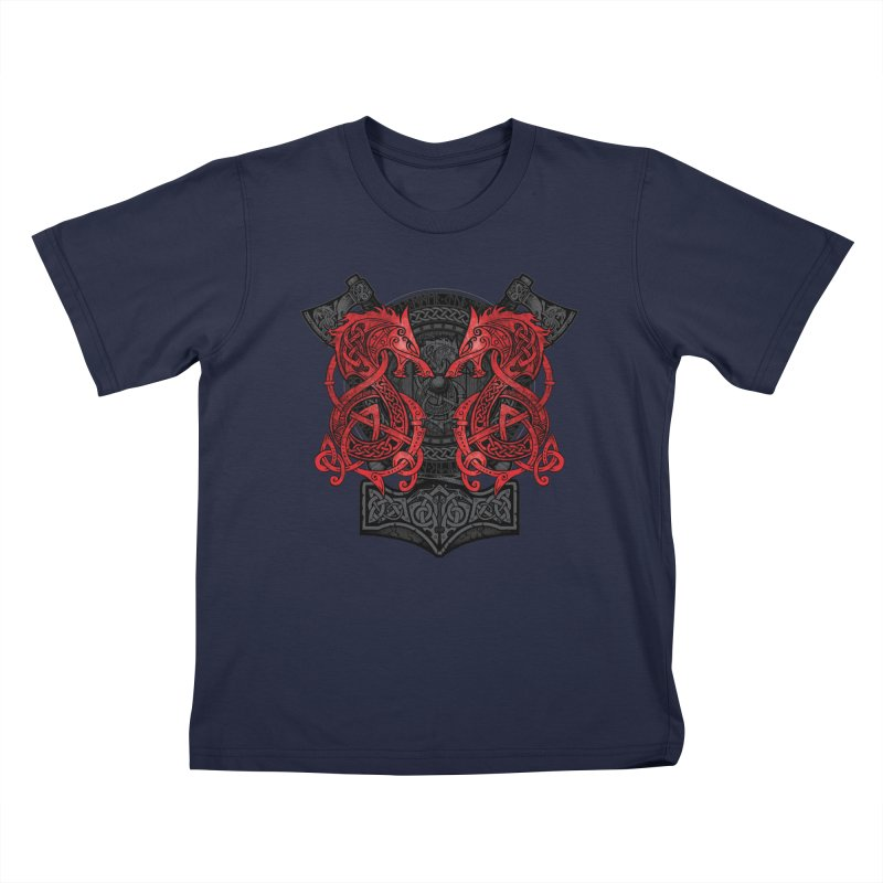 Fighting Fenrir Red Kids T-Shirt by Celtic Hammer Club
