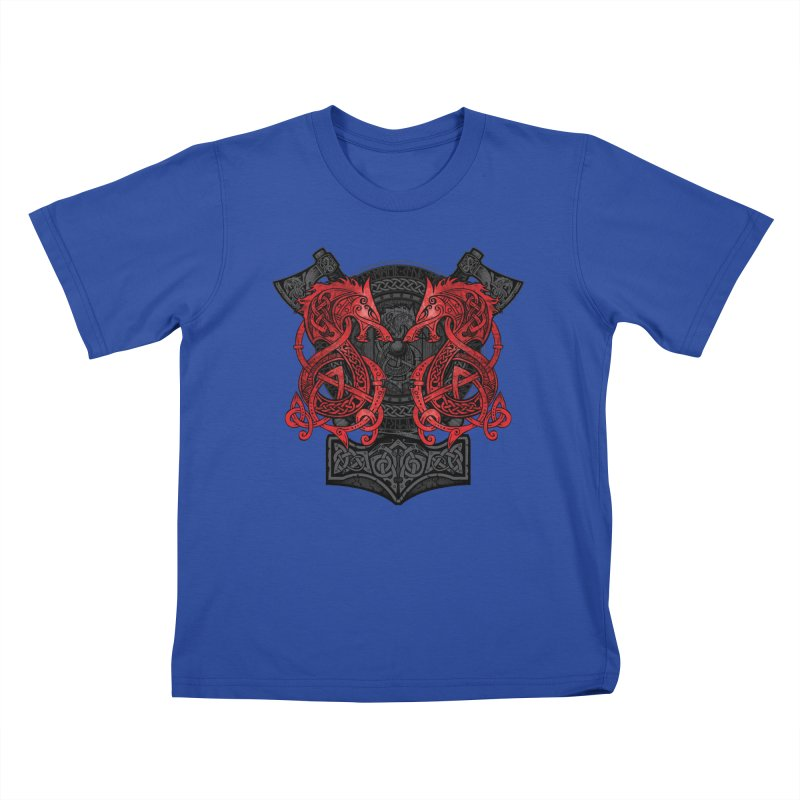 Fighting Fenrir Red Kids T-Shirt by Celtic Hammer Club
