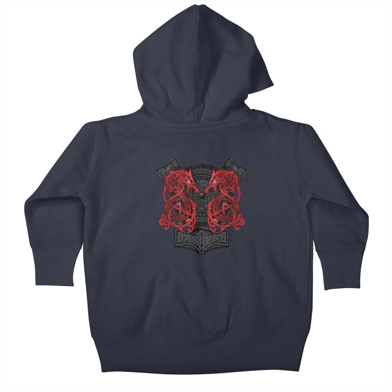 Fighting Fenrir Red Kids Baby Zip-Up Hoody by Celtic Hammer Club