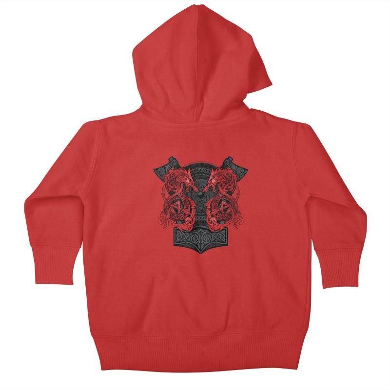 Fighting Fenrir Red Kids Baby Zip-Up Hoody by Celtic Hammer Club