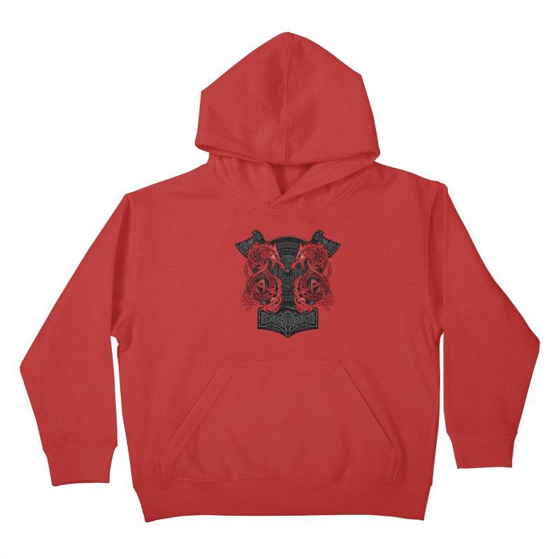 Fighting Fenrir Red Kids Pullover Hoody by Celtic Hammer Club