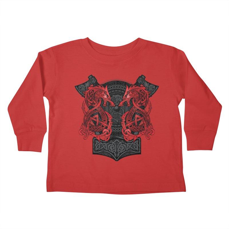 Fighting Fenrir Red Kids Toddler Longsleeve T-Shirt by Celtic Hammer Club