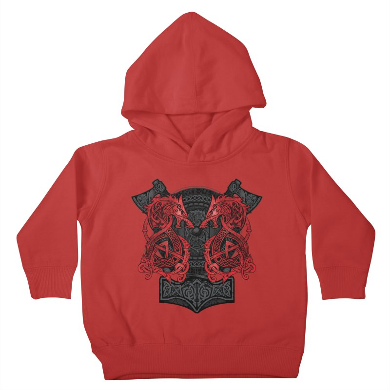 Fighting Fenrir Red Kids Toddler Pullover Hoody by Celtic Hammer Club